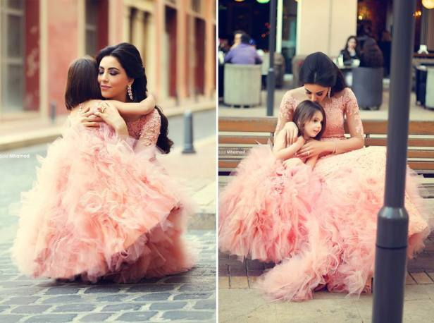 Free-Customize-2-Pieces-209USD-Tulle-Lace-Long-Tutu-Mermaid-Fashion-Family-Pink-Mother-Daughter-Wedding